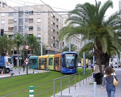The Tenerife Tram in Tenerife, Spain, includes some operation at street level, but separated from other traffic