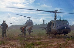 UH-1D helicopters airlift members of a U.S. infantry regiment, 1966