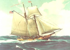 A painting of a Revenue Marine cutter, which may be of either the Massachusetts (1791), or its replacement, the Massachusetts II