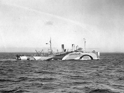 USS Shawmut laying mines in the North Sea, October 1918.