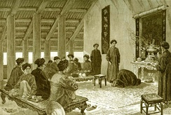 Drawing of a Vietnamese marriage ceremony