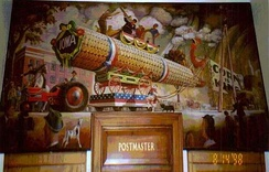"Mural in Mt. Ayr Post Office, ""The Corn Parade"" by Orr C. Fischer, commissioned as part of the New Deal.[118]"