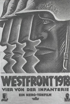 "Black-and-white movie poster featuring a stylized illustration of the profiled head of a helmeted man on the right, facing left. Behind him, and progressively to the left, are the front parts of three more such profiles, with nearly identical helmet tips, noses, lips, and chins. The title below is followed by the line ""Vier von der Infanterie""."