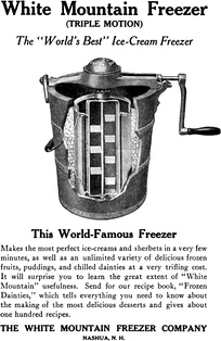 An early example of a hand-cranked ice cream maker