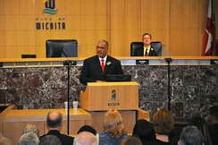 Wichita Mayor Carl Brewer delivering the 2009 State of the City address