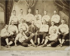 1887 Detroit Wolverines: Hanlon 3rd from right in first row of seats
