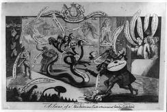 Satirical drawing of Sir William Chambers, one of the founders, trying to slay the 8-headed hydra of the Incorporated Society of Artists