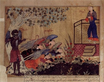 Illustration from an Arabic manuscript of the Annals of al-Tabari showing Iblis refusing to prostrate before the newly-created Adam