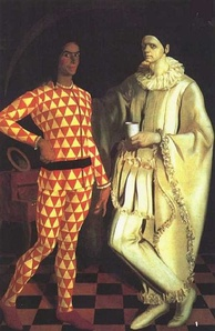 Vasilij Suhaev and Alexandre Yakovlev: Harlequin and Pierrot (Self-Portraits of and by Suhaev and A. Yakovlev), 1914. Russian Museum, St. Petersburg.