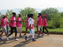 "Mbabane, Swaziland: Swazi people joined the ""Brave the Breast"" annual event in aid of the Swaziland Breast Cancer Network, 2016."