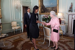 Visiting heads of state are received by the Queen at either Buckingham Palace or Windsor Castle. Here, United States President Barack Obama and Michelle Obama are greeted in 2009 in the first-floor audience chamber in the private apartments in the north wing.