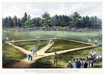 Early baseball game played at Elysian Fields in Hoboken, New Jersey (lithograph by Currier and Ives)