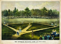 A sketch of an early baseball game played at Elysian Fields, Hoboken, New Jersey