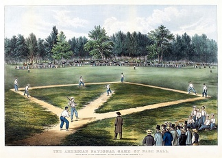 First game of the 1865 base ball  championship series between Atlantic and Mutual clubs, played at the famed Elysian Fields in Hoboken, New Jersey just across the Hudson from the crowded streets of New York City (Currier & Ives lithograph).