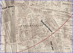 Fig. 7 Broomfields 1893. Detail from 1:2500 OS map showing dense working class housing
