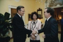 Chao with George H. W. Bush and Mitch McConnell in 1991
