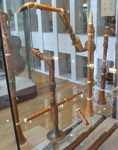 Museum of Musical Instruments, Berlin: 18th-century basset horns (with clarinets, a flute, and bassoons)