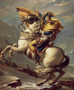 Napoleon Crossing the Alps by Jacques-Louis David. In one of the famous paintings of Napoleon, the Consul and his army are depicted crossing the Swiss Alps on their way to Italy. The daring maneuver surprised the Austrians and forced a decisive engagement at Marengo in June 1800. Victory there allowed Napoleon to strengthen his political position back in France.