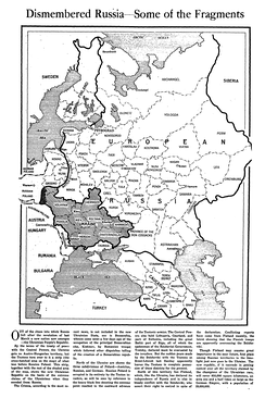 February 1918 article from The New York Times showing a map of the Russian Imperial territories claimed by the Ukrainian People's Republic at the time, before the annexation of the Austro-Hungarian lands of the West Ukrainian People's Republic