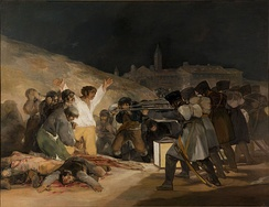Francisco Goya painting, The Third of May 1808 (1814), depicting French soldiers executing civilians defending Madrid, would help make the uprising of May 2–3, 1808, a touchstone event of the Peninsular War. Notice how the painting emphasizes the man in white striking a Christ-like pose.[12]