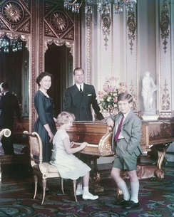 Prince Charles with his parents and sister in October 1957