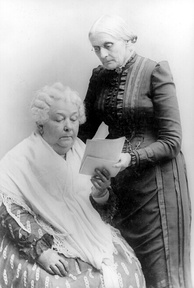 Elizabeth Cady Stanton (sitting) with Anthony