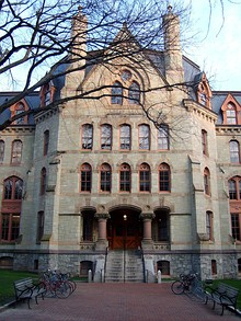 Parrish Hall at Swarthmore College and Cohen Hall, previously named Logan Hall, former home of the Wharton School of the University of Pennsylvania; The Wharton School is consistently ranked as the best business school in the world[40]
