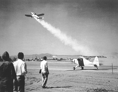 The first JATO take-off, by an ERCO Ercoupe fitted with a GALCIT booster, in 1941, performed at March Field