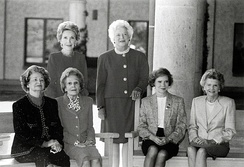 Nixon (seated second from left) attends the opening of the Ronald Reagan Library, November 1991