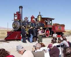 Recreations of the Golden Spike ceremony are performed on a seasonal schedule, this one was in May 2012.