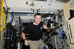NASA astronaut Col. Doug Wheelock, KF5BOC, Expedition 24 flight engineer, operates the NA1SS ham radio station in the Zvezda Service Module of the International Space Station. Equipment is a Kenwood TM-D700E transceiver.