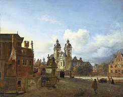 View of Düsseldorf with the church of St. Andrew in the centre, 1667. The architectural elements were painted by Jan van der Heyden and the figures by Adriaen van de Velde.