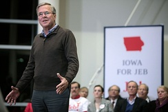 Jeb Bush speaking at a town hall campaign event in Ankeny, Iowa.
