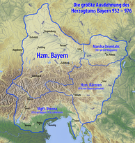 Bavaria in 976, with the marches of Austria, Carinthia and Verona
