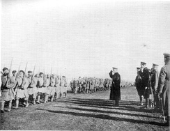 Admiral Alexander Kolchak reviewing the troops, 1919