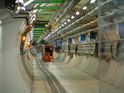 The LHC tunnel. CERN is the world's largest laboratory and also the birthplace of the World Wide Web.[140]