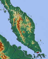 The topography of Peninsular Malaysia.