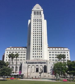 Tallest base-isolated structure in the world, built in 1928. A Neoclassical base with an Art Deco tower. Los Angeles Historic-Cultural Monument #150.