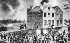 Wood engraving of proslavery riot in Alton, Illinois on 7 November 1837, which resulted in the murder of abolitionist Elijah Parish Lovejoy (1802–1837).