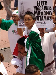 Illegal immigrant rights march for amnesty in downtown Los Angeles, California on May Day, 2006