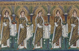 Procession of virgin martyrs bearing both martyr's palms and wreaths as the crown of a virgin (master of Sant'Apollinare Nuovo, 6th century)
