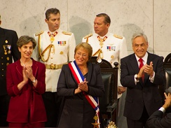 President Michelle Bachelet with presidential sash and the O'Higgins Pioche, 11 March 2014