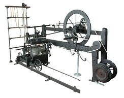 The only surviving example of a spinning mule built by the inventor Samuel Crompton.  The mule produced high-quality thread with minimal labour. Bolton Museum, Greater Manchester
