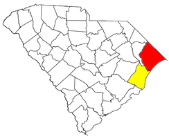 Location of the Myrtle Beach-Conway-Georgetown CSA and its components:   Myrtle Beach-Conway-North Myrtle Beach Metropolitan Statistical Area   Georgetown Micropolitan Statistical Area