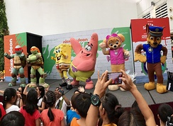 Guest appearance of mascots including characters from Teenage Mutant Ninja Turtles, SpongeBob SquarePants and Paw Patrol from Nickelodeon during the Nickelodeon Slime Cup SG event held in City Square Mall, Singapore in July, 2017