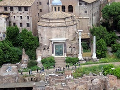 View of the Temple of Romulus, from the Palatine Hill.
