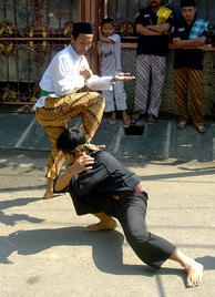 A demonstration of Pencak Silat, a form of martial arts