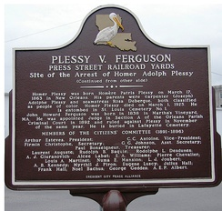 Back of the marker placed Feb. 12, 2009, recalling the arrest of Homer Plessy for violating segregationist state law.
