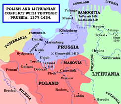 Polish and Lithuanian conflict with Teutonic Prussia, 1377–1434.