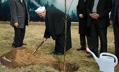 President of Iran, Hassan Rouhani, planting a tree on 2016 Arbor Day